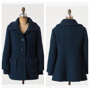 Anthropologie Tabitha Bow Topped Coat Teal